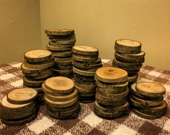 "100 4"" Wood Slices - Rustic Wedding Decor - tree slices - log coasters - DIY wedding"