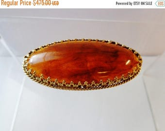 345--1900s Genuine Burmese amber Brooch translucent w. floating cloud basked & pin