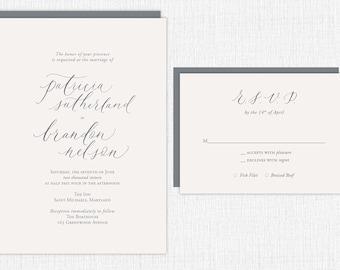 Custom Calligraphy Wedding Invitation