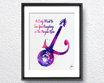 Prince Guitar watercolor, Art Print Inspired, Watercolor Print, Wall Decor, Kids Room, Item 260