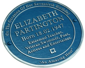 Personalized fun blue plaque with your choice of wording - For outdoor or indoor use - Handmade in England