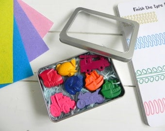 Transport Crayons Gift Tin | Vehicle shaped crayons | Wedding Favours for kids | Toddler party | Childrens Birthday gift | Novelty Crayons
