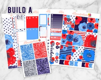 Freedom Build-A-Kit! Choose your own sheets! Erin Condren Life Planner Weekly Sticker Kit   Fourth of July, Independence Day, 4th of July
