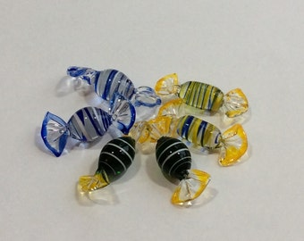 Murano Glass Candy Set of 6 Striped Pieces Italian Art Glass