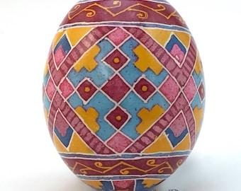 Chicken Egg Pysanka, red diamond