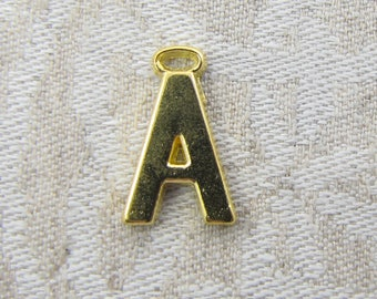 """Gold Wide Sans Serif Letter """"A"""" Charm, 1 or 5 letters per package  ALF005a-GL"""