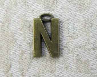 "Bronze Wide Sans Serif Letter ""N"" Charm, 1 or 5 letters per package  ALF005n-BZ"