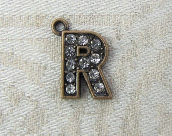 """Copper Rhinestone Letter """"R"""" Charm, 1 or 5 letters per package ALF022r-CU"""