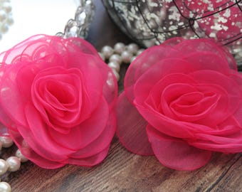 """SET OF TWO - 4"""" Hot Pink Organza Large Fluffy Roses Flowers - Elegant - Beautiful - Hair Accessories - Wedding - TheFabFind"""