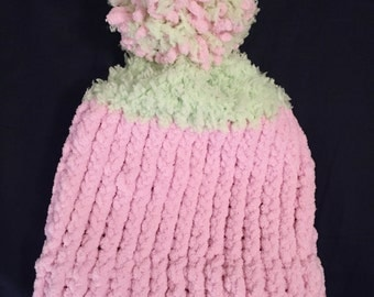 Pink and Green Girl Toddler Child Knitted Hat, Winter Toddler Loom Knit Beanie Hat, Childrens Knitted Hat, Child Knit Hat, Gift for Toddler