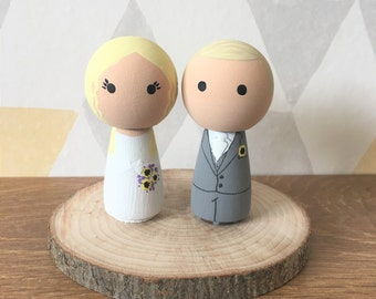 Wedding Cake Topper - Bride & Groom Cake Toppers - Personalised Wedding Cake Toppers - Kokeshi Cake Toppers