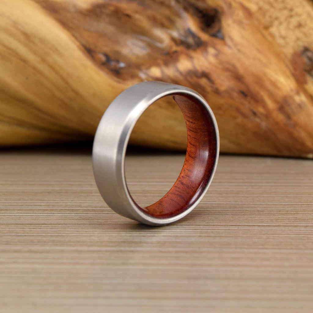 Titanium Amp Blood Wood Wedding Ring Wood Mens Wedding