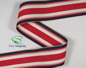"""1.5"""" (38mm) Red, White, & Black Stripe Grosgrain Ribbon 1111 (2 yds)"""