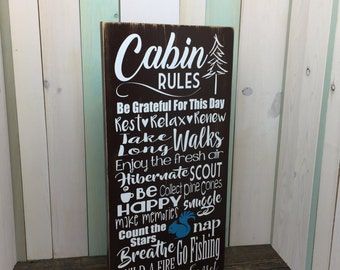 Cabin Decor - Rustic Wood Sign for Cabin - Gift for Dad - Cabin Rules - Distressed Wood Sign - Cabin Wall Hanging - Living Room Decor -Cabin