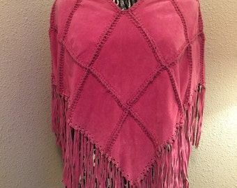Pink suede poncho