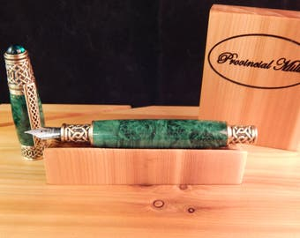 Celtic Fountain Pen with Green Dyed Box Elder #FP10106