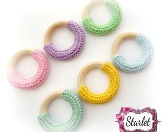 Wood Teether, Crochet Teething Ring, 50mm Crochet Wood Teether