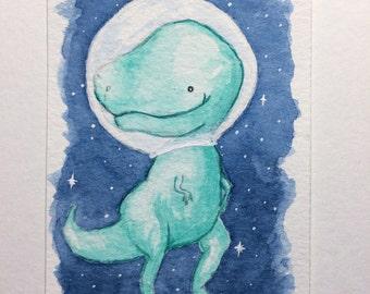 "Dinosaur in space--2.5x3.5"" ATC, artist trading card, kawaii illustration, original painting"