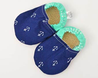 Nautical baby booties - soft soled baby shoes - navy baby moccasins - baby shoes - baby slippers - nautical baby shower // Anchors and Mint