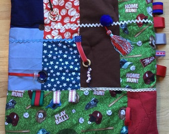 BASEBALL FAN | Anxiety Relief | Fidget Quilts for Alzheimers | Dementia Blanket | Fidget Blanket by Restless Remedy