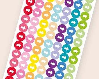 112 tiny matte dot stickers, arrow round stickers, circle stickers, planner stickers, reminder checklist eclp filofax happy planner kikkik