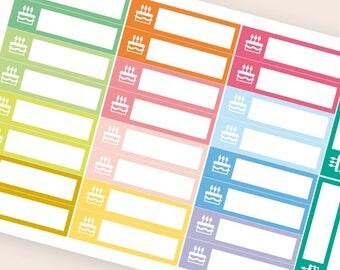 26 blank stickers, birthdays sticker, bar sticker, box stickers, blank label, planner stickers, scrapbook reminder ec happy planner stickers