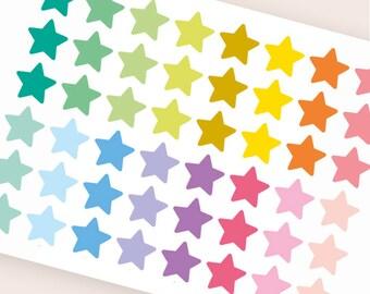 48 star stickers, planner stickers, clear transparent stickers, color coding sticker, checklist star label eclp filofax happy planner kikkik