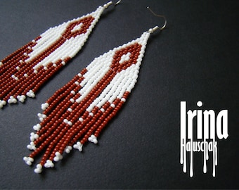 Fringe earrings,Beaded earrings, seed bead earrings, modern earrings, boho earrings beadwork jewelry, minimalistic earrings, white and brow