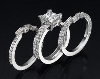 Bridal Wedding Band Set, Diamond Engagement Ring Set, Wedding Ring Set, Princess Cut,14K White Gold,