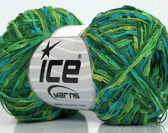 Ladder Acryl Turquoise Green Shades Ice Yarn, Blue Green Yarn, Blue Green Ladder Yarn, Fiber Art, Unique Yarn, 196 yards, 47010