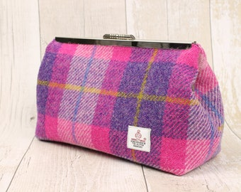 Clutch Bag / Harris Tweed / Evening Bag / Small Purse / Clutch Purse / Pink and Purple Check