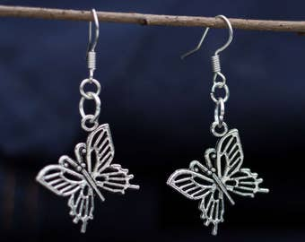 Vintage earrings with butterfly silver