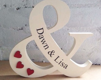Personalised wedding gift, Wooden & Sign, Personalised With 2 Names, wedding present, freestanding wooden gift, home decor