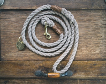 Sand Brown Rope Dog Leash // Rope Dog Lead - Strong Dog Leash - Brass Dog Leash - Australia - Made in Melbourne