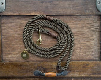 Olive Rope Dog Leash // Rope Dog Lead - Strong Dog Leash - Brass Dog Leash - Australia - Made in Melbourne