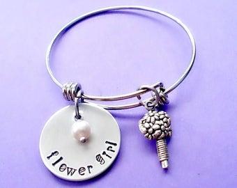Hand Stamped Flower Girl Bracelet // Girls' Personalized Pearl Initial Jewelry // Bridal Bracelet // Wedding Jewerly // Children's Jewelry