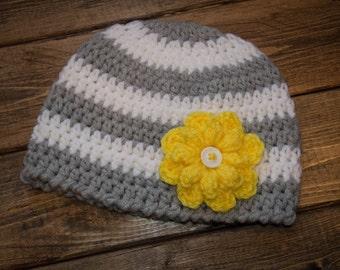 3-6 month handmade crochet striped beanie with flower