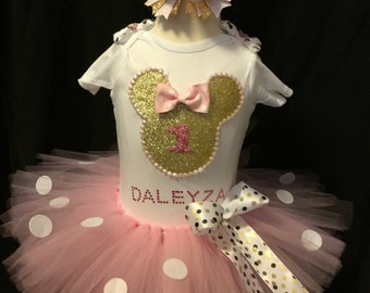 Little girls handmade pink and gold Minnie mouse tutu outfit