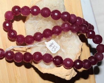 """16"""" Strand of 10mm Faceted Round Agate ***Dyed Magenta Beads #43"""