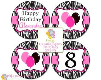 Zebra Print Party Printables, Zebra Print Birthday, Birthday Cupcake Toppers, Birthday Favor Tags, Zebra Print Cupcake Toppers, Favor Tags