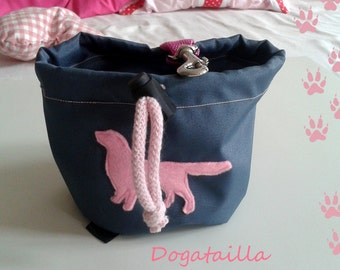 Dark grey dog treat bag with your favourite breed motif