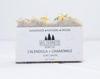 Calendula Chamomile Soap, Natural Soap, Vegan Soap, Palm Free Soap, Handmade Soap, Cold Process Soap