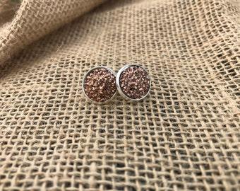 Rose gold Druzy earrings 12mm