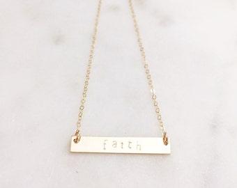 FAITH | Faith Bar Necklace | Faith Hand Stamped Bar Necklace | Custom Hand Stamped Bar Necklace | Faith Bar Necklace | Gold Faith Necklace
