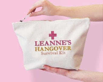 Personalised Hangover Survival Kit Bag, Ready to be filled with Hangover Cure Essentials, Wedding, Hen Do, Canvas Bucket Bag, Funny Gift