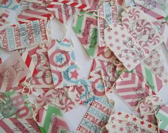 Geometric animal Christmas present swing tags