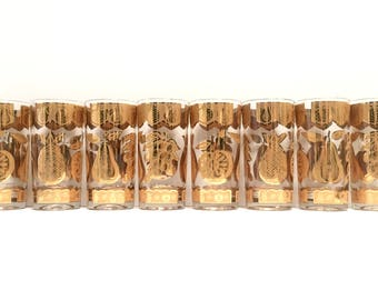 Mid century Culver 22k gold fruit tumblers, set of 8 | vintage barware | retro highballs | entertaining | pineapple apple pear grapes