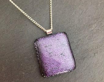 Large purple pendant, fused glass purple pendant, purple dichroic glass pendant, purple jewellery