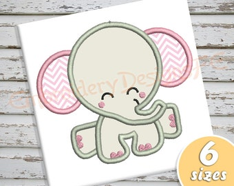 Baby Elephant Applique Design - 6 sizes - Machine Embroidery Design File