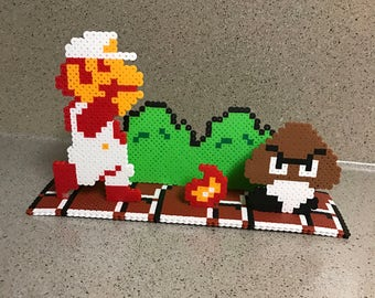 Super Mario Bros Fireball Perler Bead Scene